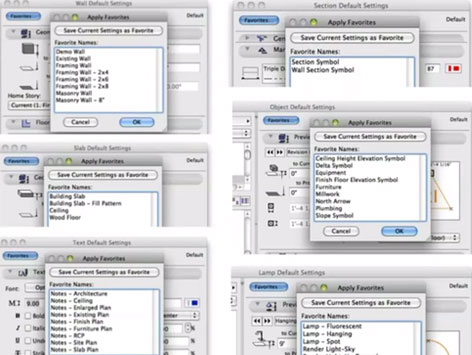 Favorites in ARCHICAD